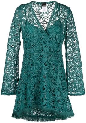 Pinko lace-pattern V-neck dress