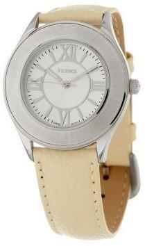 Italian Gold Satin Bezel Off-White Leather Strap Watch 14K