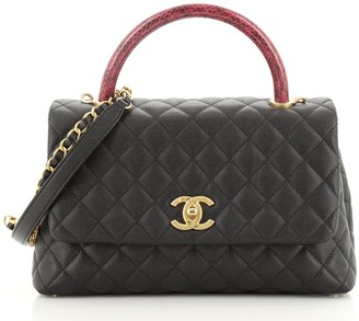 Chanel Coco Top Handle Bag Quilted Caviar with Snakeskin Small