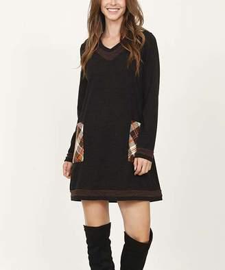 Egs By Eloges egs by eloges Women's Tunics BROWN - Black & Brown Contrast-Trim V-Neck Shift Dress - Women & Plus