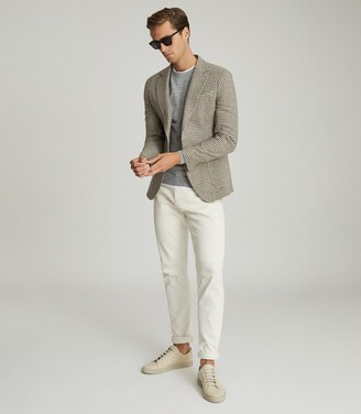 Reiss Vale - Wool Blend Slim Fit Blazer in Brown