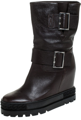 Casadei Brown Leather Wedge Chain Motif Buckle Mid Calf Boots Size 38