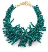 Nest Beaded Fringe Turquoise Necklace