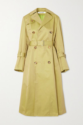 Junya Watanabe Reversible Pleated Cotton-blend Gabardine Trench Coat - Beige