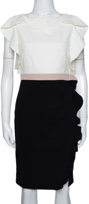 Valentino Colorblock Stretch Crepe Ruffled Fitted Dress M