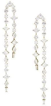 Adriana Orsini Women's Gia 18K Yellow Goldplated & Crystal Double Linear Earrings