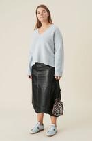 Thumbnail for your product : Ganni Wavy Asymmetrical Leather Midi Skirt