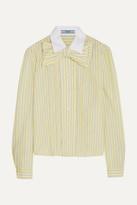 Prada Bow-embellished Ruffled Striped Cotton Shirt - Pastel yellow