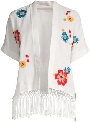 Carolina K. Anita Floral Embroidered Fringe Kimono