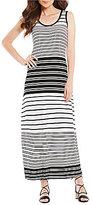 Calvin Klein Stripe Knit Jersey Scoop Neck Maxi Dress