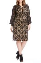 Karen Kane Plus Size Women's Bell Sleeve Lace Shift Dress