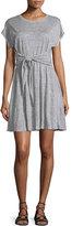 Rebecca Taylor Cap-Sleeve Tie-Waist Jersey Dress, Gray Melange