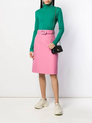 Gucci Pink Gg Belt Midi Skirt