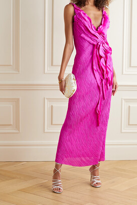 Jason Wu Collection Ruffled Crinkled Silk-georgette Maxi Dress - Pink