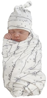 Wonder Nation Unisex Swaddle Wrap and Knot Cap Baby Shower Gift Set, 2pc