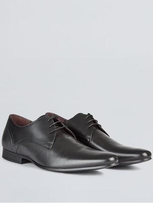 Burton Menswear London Leather Formal Derby Shoes - Black