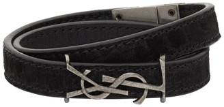 Saint Laurent Black Opyum Double Wrap Suede Logo Bracelet