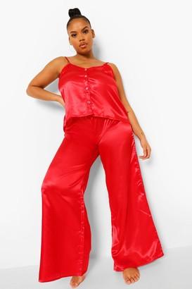 boohoo Plus Heart Button Cami & Trouser Set