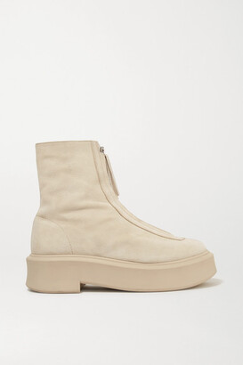 The Row Textured-nubuck Platform Ankle Boots - Beige