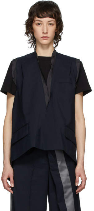 Sacai Navy Wool Suiting V-Neck Vest