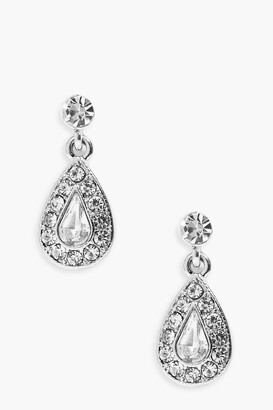 boohoo Diamante Tear Drop Earrings