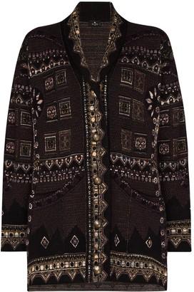 Etro Geometric-Pattern Knit Cardigan