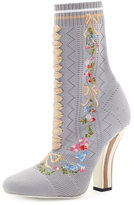 Fendi Embroidered Knit 100mm Bootie, Gray