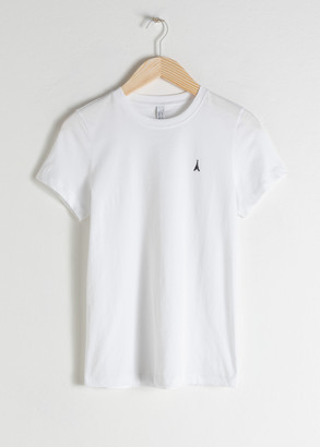 And other stories Embroidered Organic Cotton T-Shirt