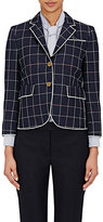 Thom Browne Women's Windowpane Checked Three-Button Jacket-NAVY, WHITE, RED