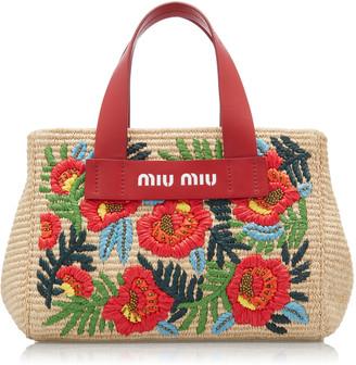 Miu Miu Embroidered Straw Tote