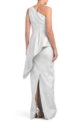 One Shoulder Metallic Diagonal Peplum Gown