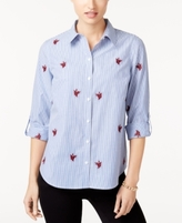 Charter Club Petite Cotton Embroidered Striped Shirt, Created for Macy's