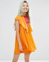 Asos High Neck Ruffle Shift Mini Dress