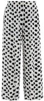 Norma Kamali Polka Dot-print Side-striped Jersey Trousers - Womens - White Black