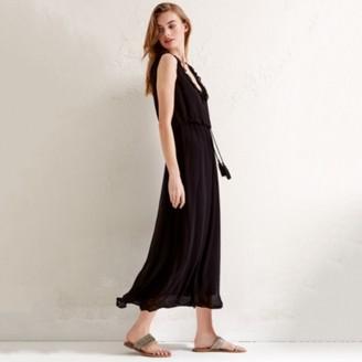 The White Company Frill Trim Midi Dress, Black, 4