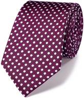 Charles Tyrwhitt Magenta and white silk classic Oxford spot tie
