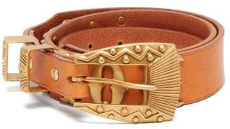 Holiday Boileau Newton Logo Plaque Leather Belt - Womens - Tan
