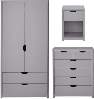 Aspen 3 Piece Package - 2 Door, 2 Drawer Wardrobe, 4 + 2 Chest and Bedside Table - Grey Oak Effect
