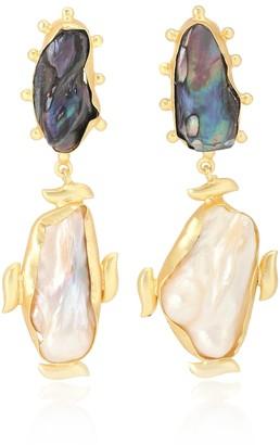 PEET DULLAERT Riya 14kt gold-plated earrings with Baroque pearls