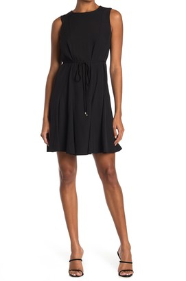 Tommy Hilfiger Sleeveless Tie Waist Fit & Flare Dress