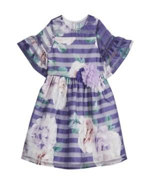 Laura Ashley Baby Girls London Floral Shadow Stripe Bell Sleeve Dress