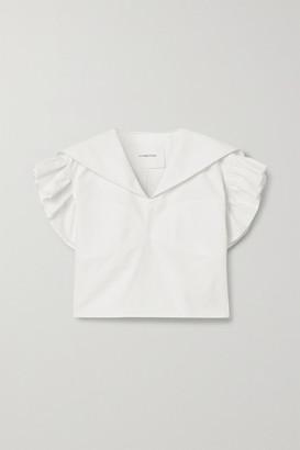 pushBUTTON Ruffled Cotton-poplin Blouse - White