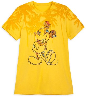 Disney Mickey Mouse Tropical T-Shirt for Adults Walt World Yellow