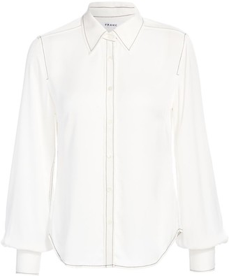 Frame 70s Contrast Stitch Puff-Sleeve Silk Shirt