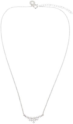Kenneth Jay Lane Cz By Rhodium Plated Round Curved CZ Pendant Necklace