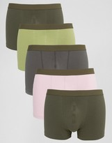 Asos Trunks In Khaki Rib Fabric 5 Pack