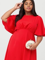 AX Paris Curve Midi Plain Dress - Red