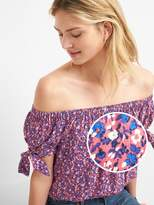 Gap Floral Tie-Sleeve Off-Shoulder Top