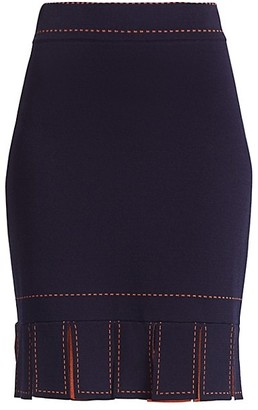 STAUD Fawn Broken Line-Trim Fringe-Hem Pencil Skirt