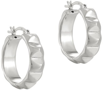 Seol + Gold Sterling Silver Pyramid Studded Creole Hoops